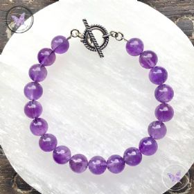 Amethyst Healing Bracelet With Silver Toggle Clasp